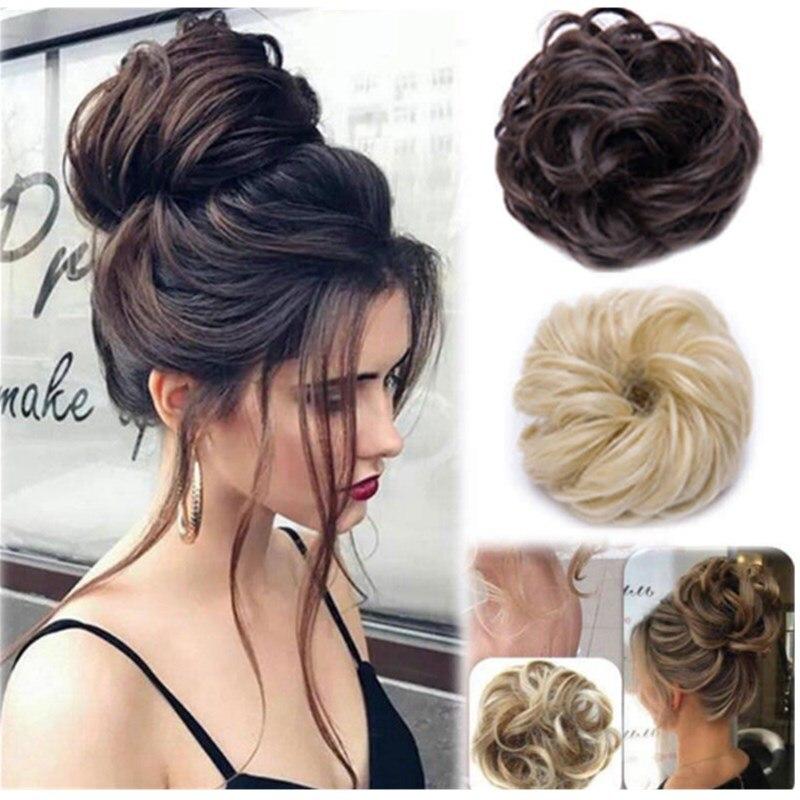 Hotsale 30colors Women Girls Real Human Natural Curly Messy Bun Hair Piece Scrunchie Fake Hair Extensions Headwear Headband New