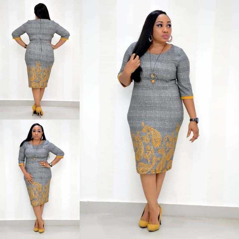 Vestiti africani 2019 Elegante Plaid del Vestito Dell'ufficio Della Signora Delle Donne Più Il Formato 4XL O-Collo Fasciatura di Bodycon Vestito Aderente Abito di Alta Qualità