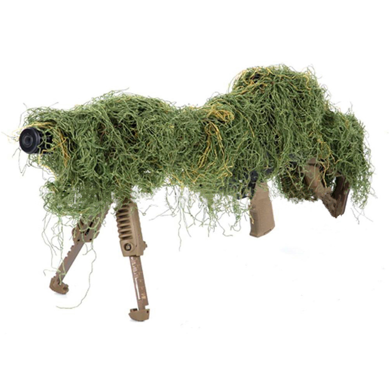 1.2M Airsoft Hunting Blind Ropes Camouflage Ghillie Suit Accessories Elastic Synthetic Fiber Mlitary CS Hunting Blind Gun Wraps