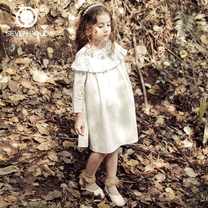 ФОТО SEVEN SOLO Brand Fashion Princess Dress 100% Cotton Soft Fabric Girls Straight Dress Embroidery Forest Breathable Clothes Baby
