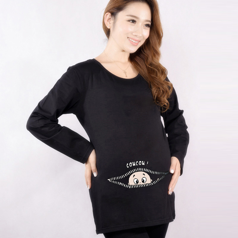 Autumn Maternity Funny Baby Peeking Out Shirts Cotton Pregnant Tops Tees Clothes Premama Wear Clothing Pregnancy Clothes 2016