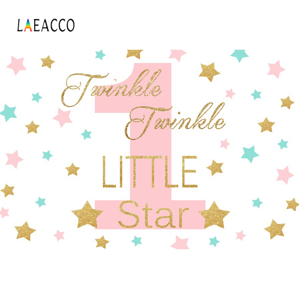 Girls Birthday Backdrops Background Twinkle Twinkle Little Star Pink Gold Banner