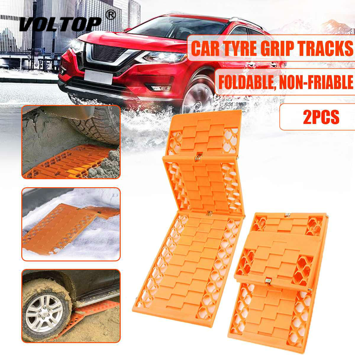 2Pcs Set Tyre Grip Tracks Car Security Snow Mud Sand Rescue Escaper Traction Tracks Mats Folding Rubber Car Rescue Mats in Snow Chains from Automobiles Motorcycles