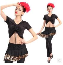 Stylish women significantly higher Square Dance Latin practice skirt suit pants suit short-sleeved shirt 5100