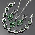Lan Classiv Prata Banhado Conjuntos de Jóias Verde & Branco AAA Zircon Para Colar de Pingente/Brinco/Pulseira