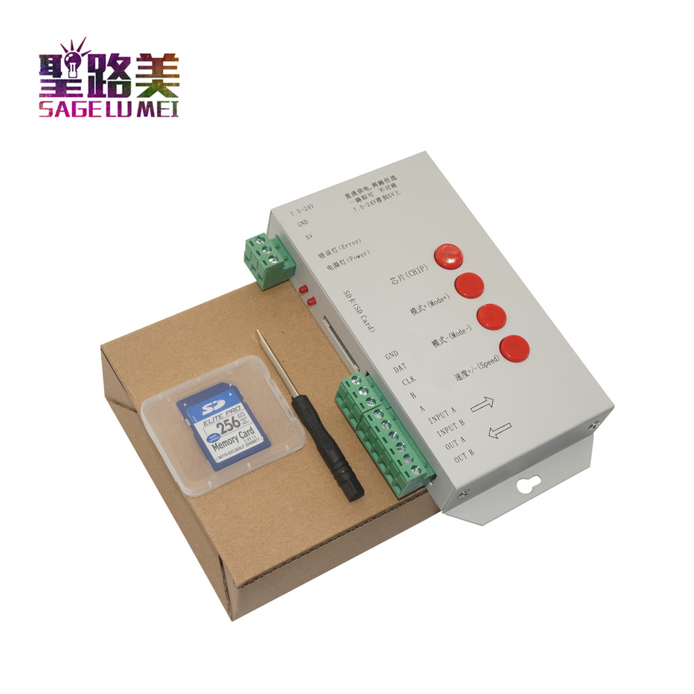 T1000S SD כרטיס WS2801 WS2811 WS2812B LPD6803 LED 2048 פיקסלים בקר DC5 ~ 24 v T-1000S RGB בקר