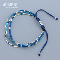 Lotus Mann Double color small coloured glaze with 925 silver bead weaving three layer a hoard of blue bracelets