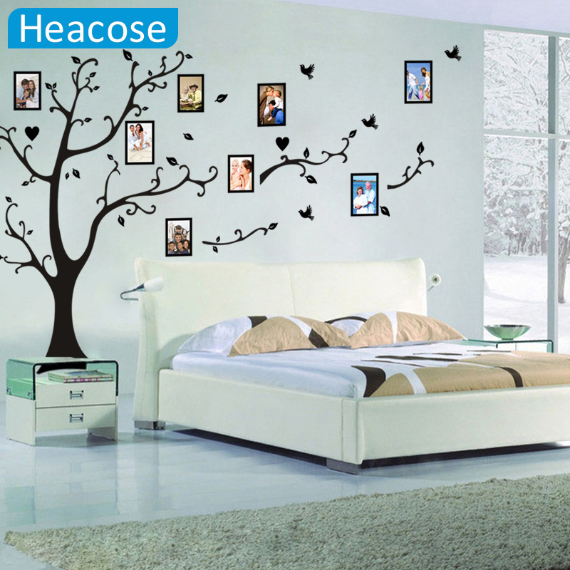 Large size 200*260cm colorful DIY photo vinyl wall stickers tree for living room bedroom mural art wallpaper home decor(China)