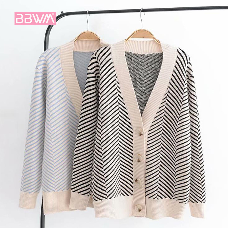 2018 Autumn Women's New Sweater Korean Version Of The Loose Striped Sweater Cardigan Long-sleeved V-neck Versatile Jacket
