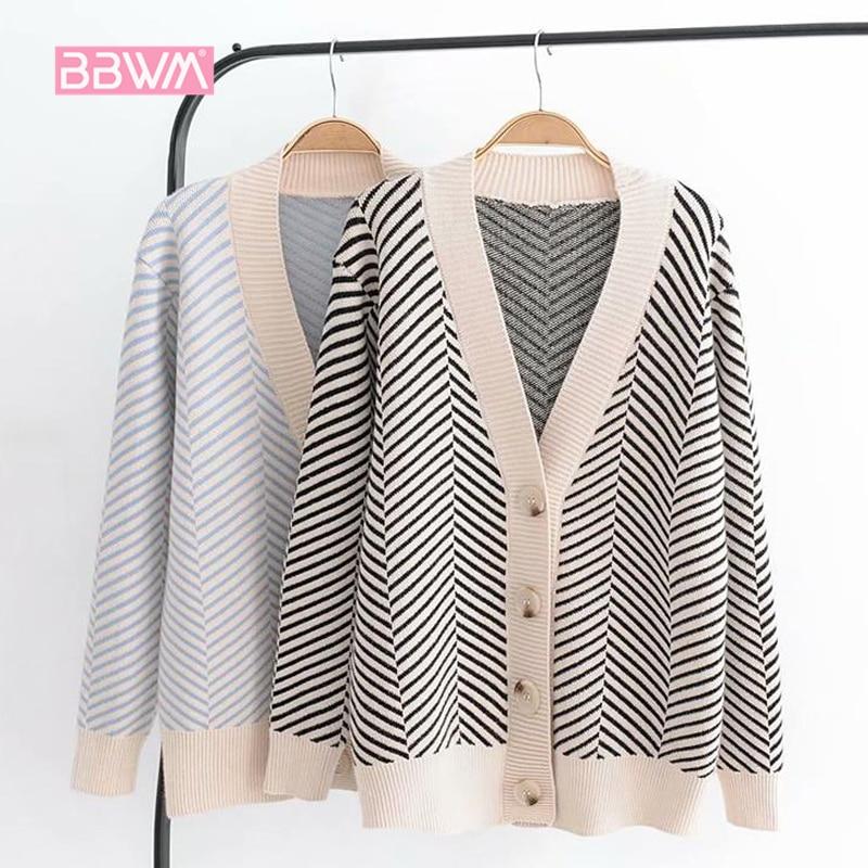 2018 осенний женский новый свитер Корейская версия свободного полосатого свитера кардиган с длинными рукавами v образный вырез практичная куртка