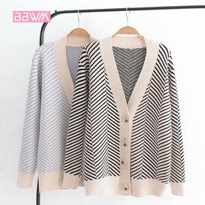 Image 1 - 2020 jesienny damski nowy sweter koreański wersja luźne paski rozpinany sweter z długimi rękawami dekolt w szpic uniwersalna kurtka