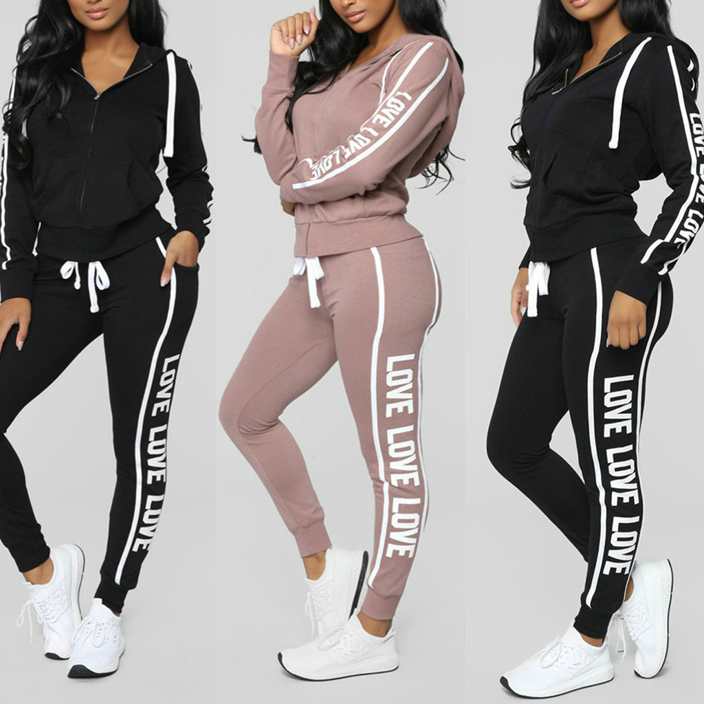 Tracksuit Women Sportwear Winter Women Suit LOVE Hoodies Printed Sports Shirt + Trousers Casual Zipper Long-sleeved Shirt
