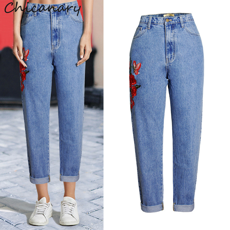 Chicanary Women High Waist Embroidery Washed Cotton Denim Pants Female Casual Loose Straight Jeans