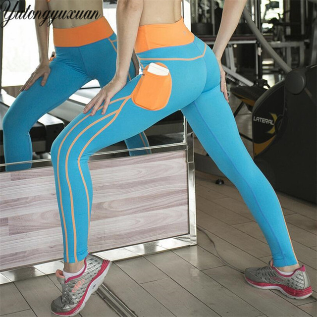 aec8f24ba5592 Yoga Pants Women Phone Pockets Running Tights Yoga Leggings Fitness Jogging  Gym Workout Clothes Elastic Athletic Legging