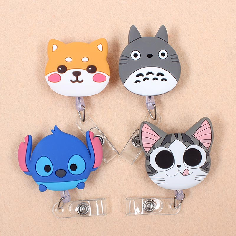 Cartoon 60cm Silicone Cute Totoro & Cat Retractable Badge Reel Student Nurse Doctor Exhibition Enfermera Name Card ID Card Chest