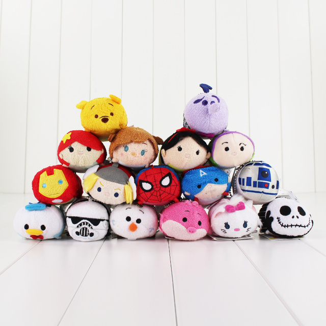 7~9cm Tsum Tsum Plush toy doll Cute Screen Cleaner Princess Snow white Mermaid Cinderella The Inside Out Jake Star Wars