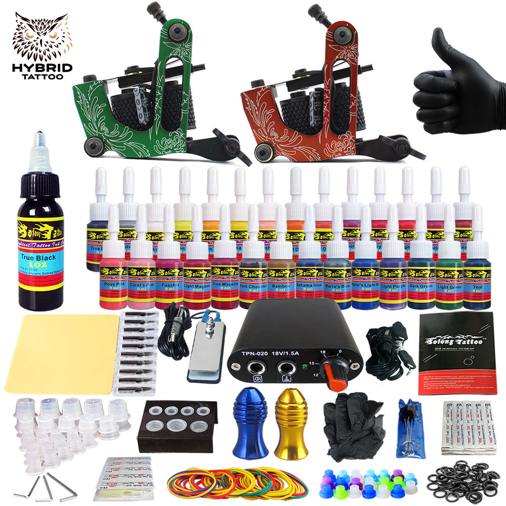 Hybrid Complete Kit For Tattoo Liner and Shader Beginner Power Supply Foot Pedal Grips Needles Ink Set Tattoo Body&Art TK204-15Hybrid Complete Kit For Tattoo Liner and Shader Beginner Power Supply Foot Pedal Grips Needles Ink Set Tattoo Body&Art TK204-15