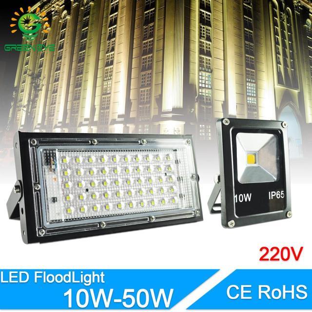 LED Flood Light 50W 10W real power Floodlight LED street Lamp AC 220V 240V waterproof IP65 outdoor Lighting led cob spotlight