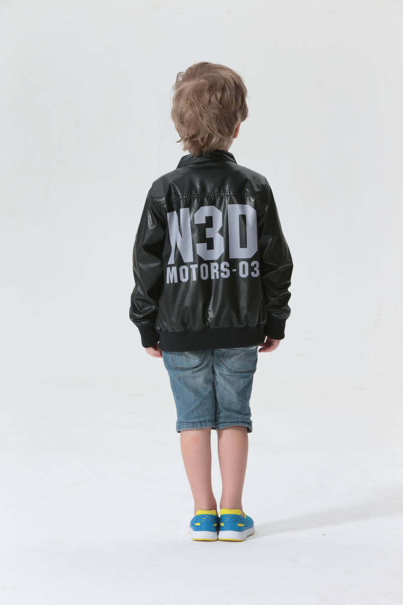 7ff255814b8b TOK TIC BRAND Leather Jacket Kids Boy Faux Leather Coat Kid letter printed  with zip Boy Fashion Casual Long Sleeve Coat-in Jackets   Coats from Mother  ...