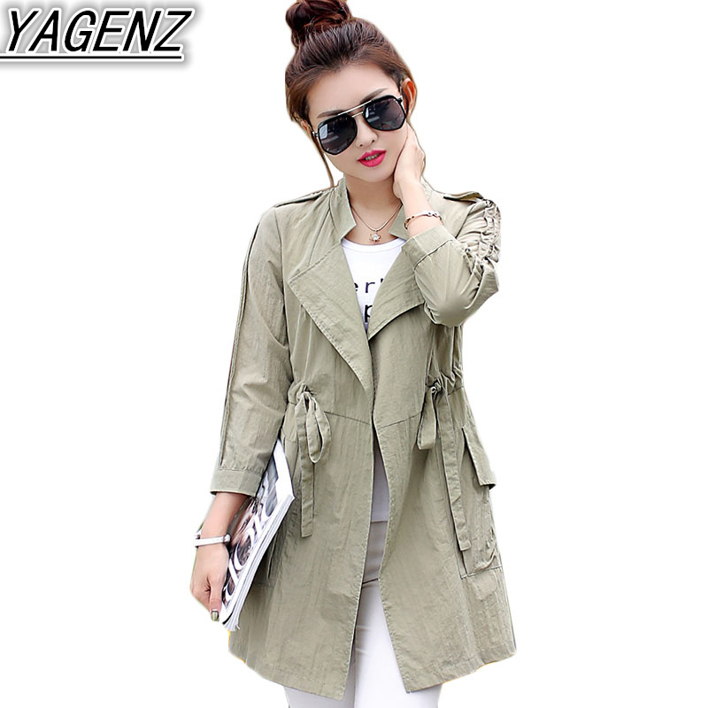 Sunscreen Windbreaker Female Middle long section Spring Summer 2017 New Loose Simple Casual font b Jacket