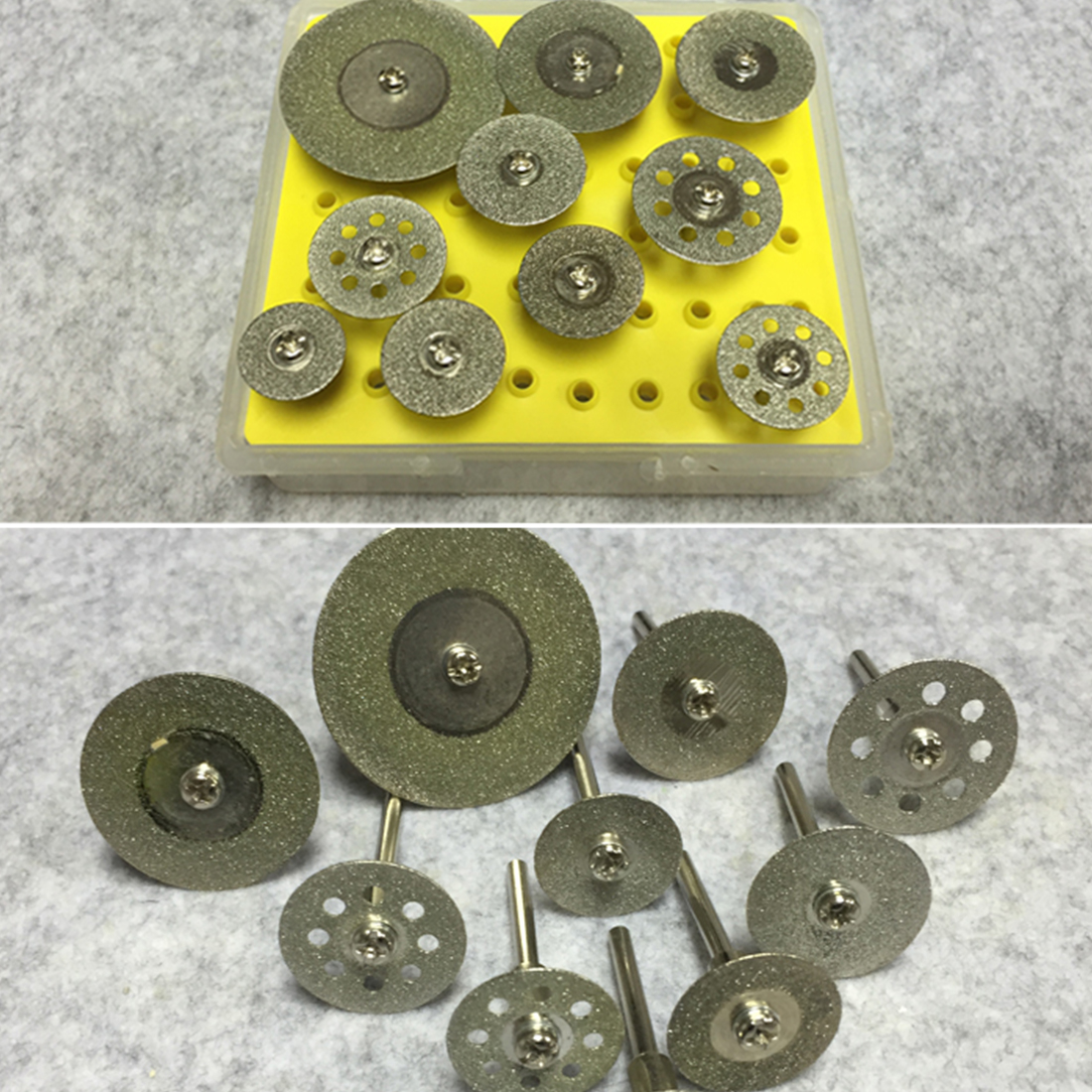 New 10Pcs Diamond Cutting Discs Cut-off Hold Wheel Set For Dremel Rotary Tool Cutting / Grinding / Engraving Tools