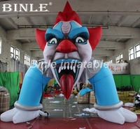 Hot sale 5x5m giant airblown clown face inflatable halloween archway for yard decorations