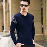 High Quality Mens Sweater Casual V Neck Long Sleeve Knitted Men Clothes Plus Size Autumn Winter