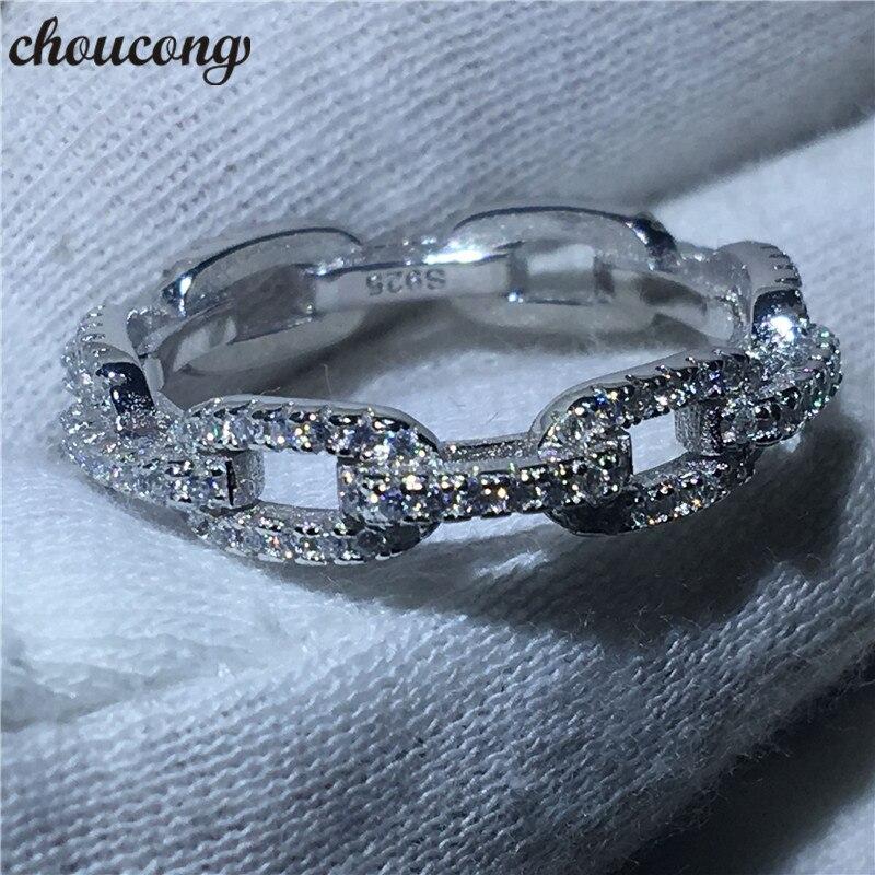 Choucong De Luxe Bijoux Chaîne Style 100% Réel Soild 925 sterling bague en argent AAAAA Zircon Wedding Band Anneaux Pour Femmes hommes cadeau