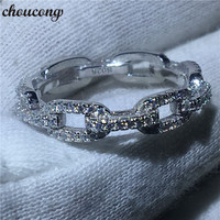 Choucong Luxury Jewelry Chain Style 100 Real Soild 925 Sterling Silver Ring AAAAA Zircon Wedding Band