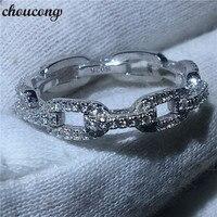 Choucong di Lusso della Catena Dei Monili di Stile 100% Reale Soild 925 sterling anello d'argento AAAAA Zircone Wedding Band Anelli Per Le Donne degli uomini regalo