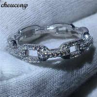 Choucong joyería de lujo cadena estilo 100% Real Soild 925 anillo de plata de ley AAAAA Zircon anillos de boda para Mujeres Hombres regalo