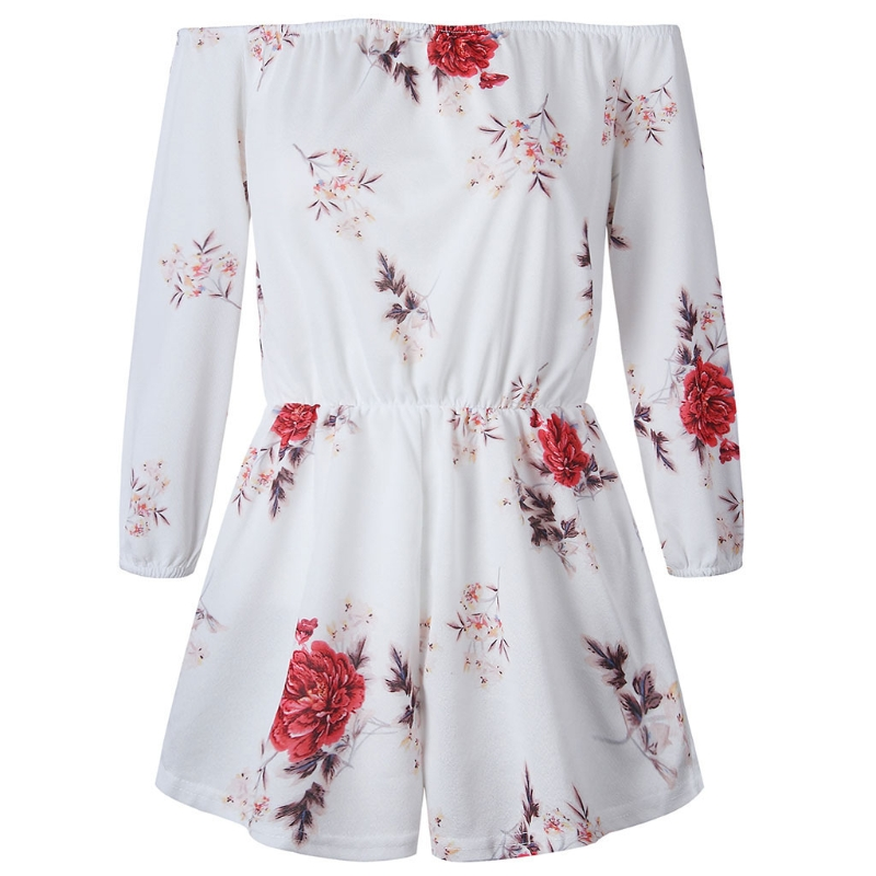 Women Sexy Boat Neck Floral Print Long Sleeve Shorts Casual Jumpsuits Romper