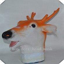 100% Natural Rubber Giraffe Sika Deer Head Mask Headgear Animal Head Party Halloween Masquerade Animal Head Masks