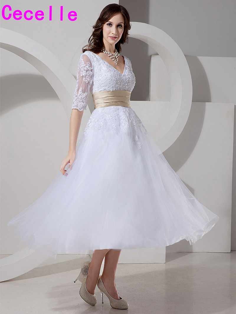 ... 2019 Vintage Tea Length Short Wedding Dresses With Half Sleeves V Neck  Appliques Tulle Bridal Gowns ... ba77bffdceaa