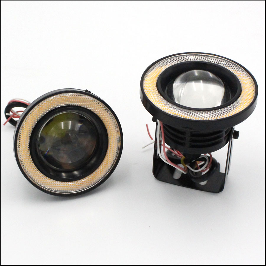 2PCS 10W 89mm12V LED Car Fog Light Lamp Round Headlight Spotlight For Car Motorcycle Waterproof DRL Daytime Running Lights White
