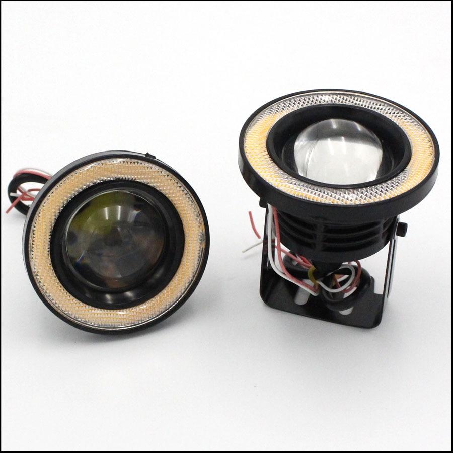 2PCS 10W 89mm12V LED Car Fog Light Lamp Round Headlight Spotlight For Car Motorcycle Waterproof DRL Daytime Running Lights White