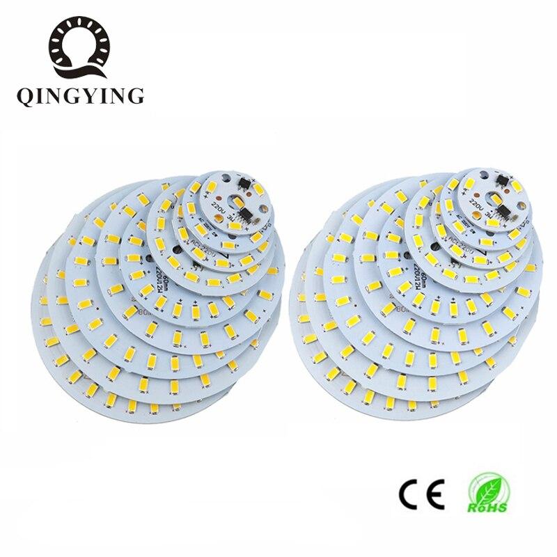 100 個 5730 SMD PCB AC 220 V 直接接続 3 ワット 5 ワット 7 ワット 10 ワット 12 ワット 15 ワット 18 ワット 24 ワット必要はありませんドライバアルミランププレート電球パネル  グループ上の ライト & 照明 からの LED バルブ & チューブ の中 1