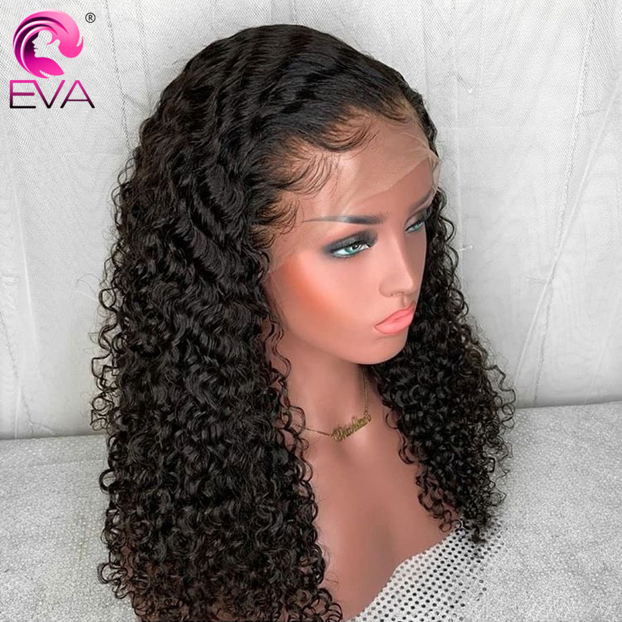 Eva Curly Lace Front Human Hair Wigs Pre Plucked With Baby Hair Glueless Lace Front Wigs
