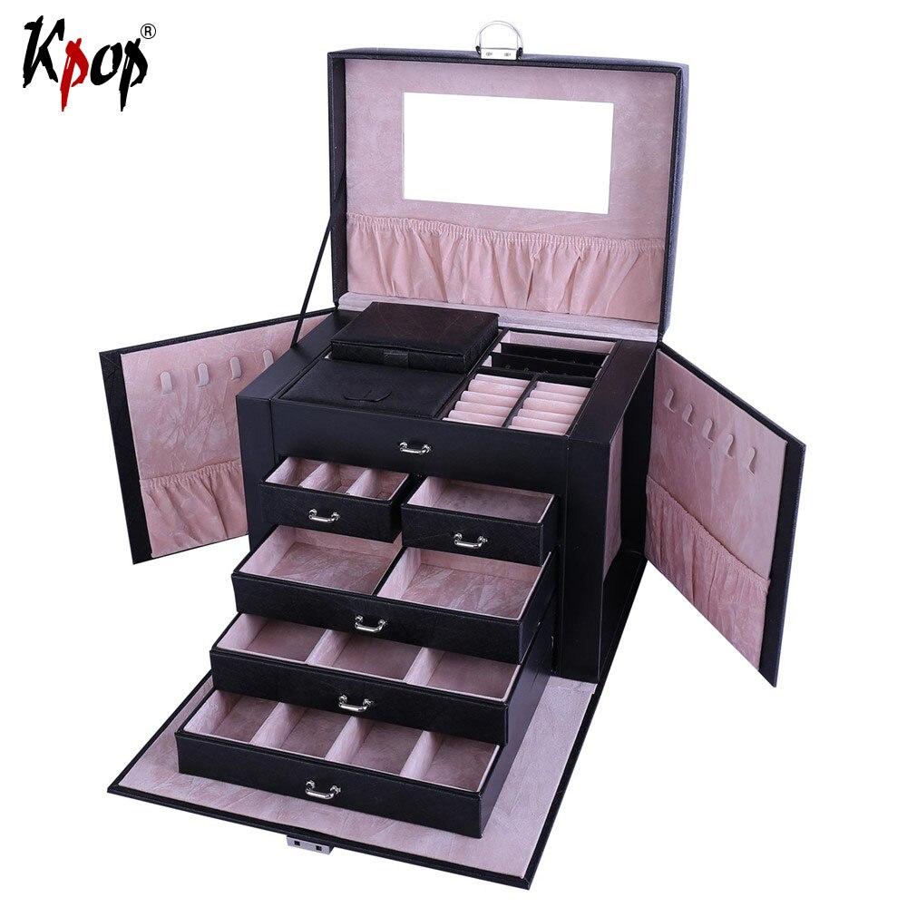 Kpop forme carrée boîte multicouche affichage PU cuir voyage boîte de rangement étuis de transport pour bagues colliers bijoux OB107