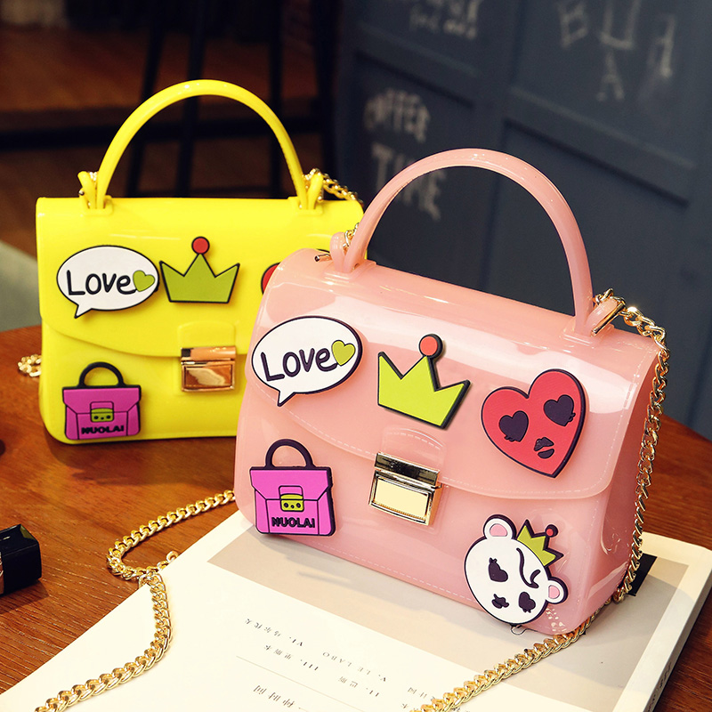 Pvc badge cute cartoon fashion jelly candy color ladies handbag flap shoulder bag totes messenger bag across body chain purse new arrival fashion color stitching simple silver buckle casual chain handbag women s shoulder bag across body messenger totes