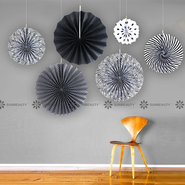 6 pcs set black paper fan backdrop paper pinwheel garland party fans