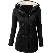 Fashion Women Wool Blends Coat Winter Thicken Outwear Warm Slim Hooded Collar Zipper Horn Button Long Jacket Parka Oversized New