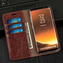 Musubo Business Luxury Case para S8 funda con tapa de cuero genuino para fundas Samsung Galaxy Note 8 5 billetera S9 Plus S7 Edge S6 S5 funda(China)