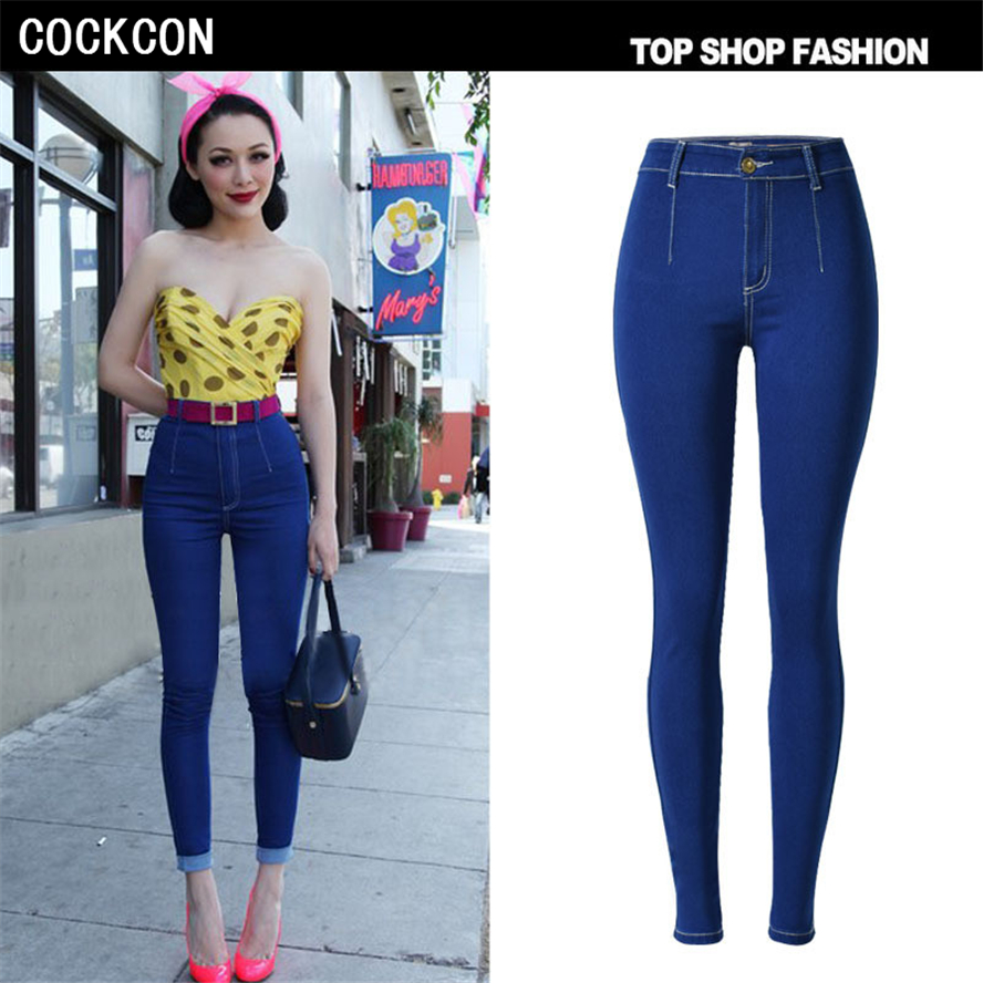 COCKCON New 2017 Women s jean Pants Female Jeans High Quality Skinny Stretch Pencil Denim Ladies