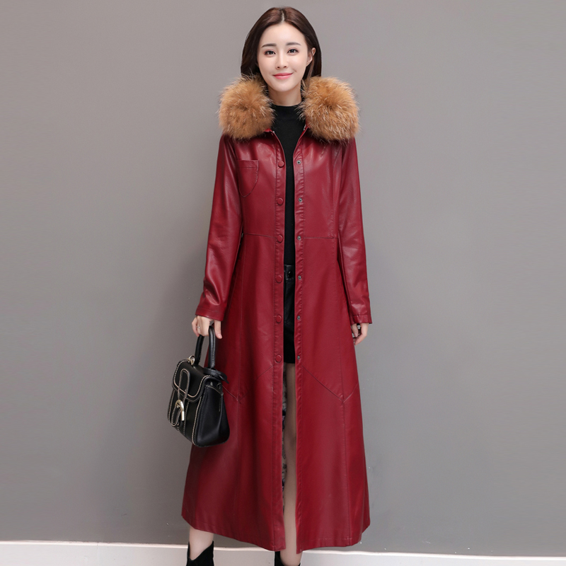 leather   jacket women spring autumn Slim Long   Leather   Jacket black red purple   Leather   Trench coat plus size m-5XL k6709