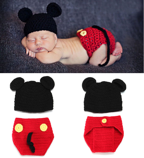 Hand Crochet Children Clothing and accessories Newborn Photography Props Hat and Shorts Set Infant Animal Beanie Hats
