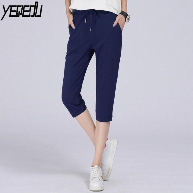 7f0f77ea80 #0804 2018 Summer Lightweight Sweatpants Loose Calf-length Pants Women  Elastic Cotton trousers For women Straight Black/Blue
