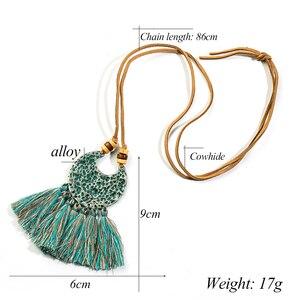 2018 Модное Новое богемное этническое ожерелье с подвеской в богемном стиле с кисточками для женщин, длинное колье с цепочкой из веревки, одежда, ювелирные аксессуары
