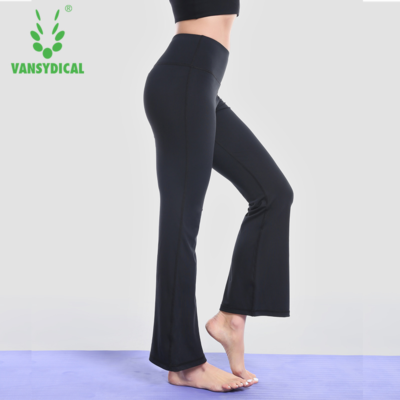 Vansydical Women's High Waist Yoga Pants Bell Bottoms Trousers Wide Leg Dance Pants Solid Running Sportswear active wide leg stretch waistband pants with stitching design in blue