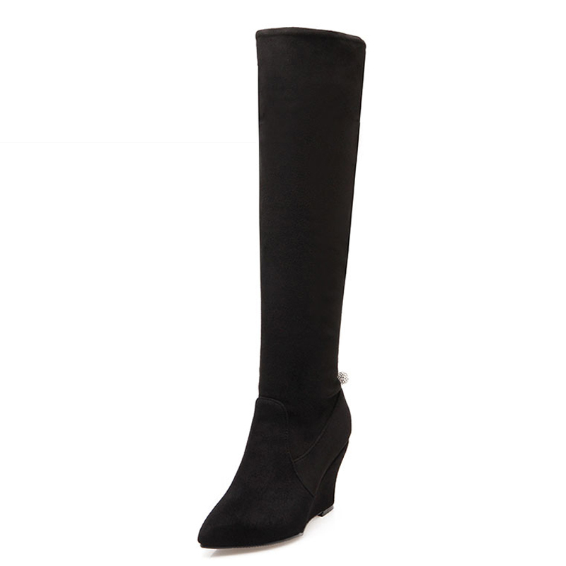 Big Size 34 43 Fashion 2 Styles Knee Boots Women s Winter Boots Fall Wedges Sexy